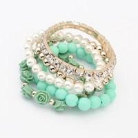 2014 trendy mode candy kleur roos bloem parel multilayer charme armband& armband voor vrouwen mode-sieraden